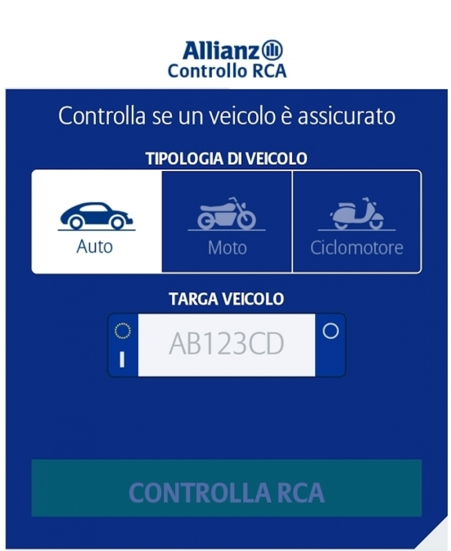 app allianz controllo rca